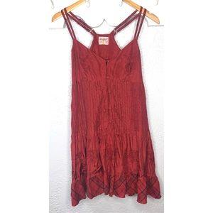 Free people red silk dress 10